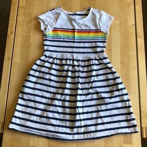 Lands End Rainbow Stripe Dress - Large 6X/7